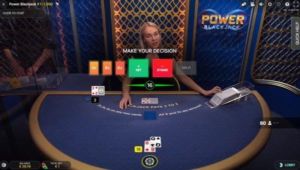 Power Blackjack live dealer