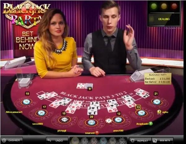 live casino και πραγματικοί dealers στο Στοιχήματα στο live Blackjack Party